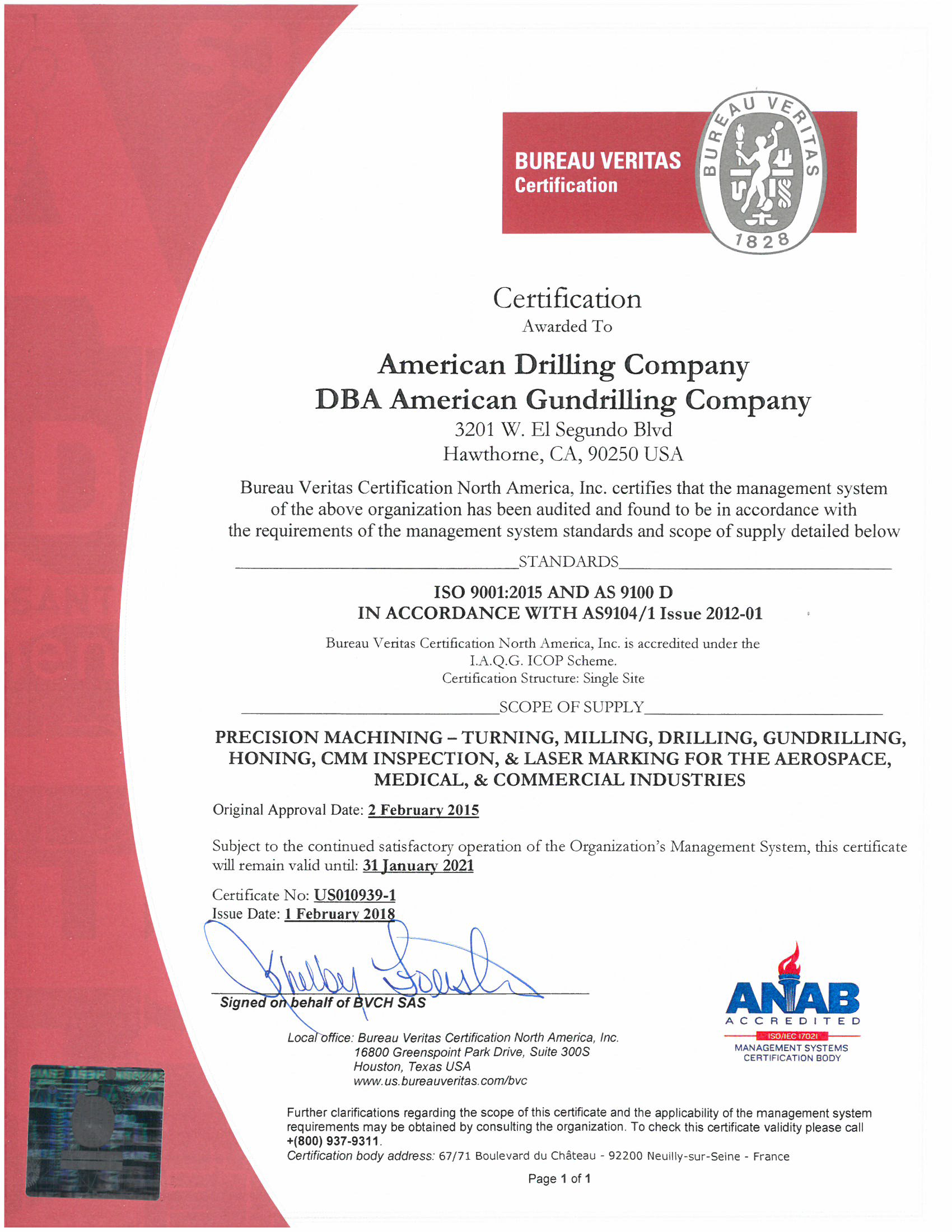 Asiso Certification American Drilling